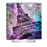 Pop Art Eiffel Tower Shower Curtain