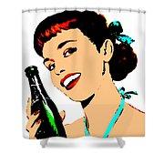 Pop Art Girl With Soda Bottle Shower Curtain