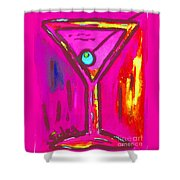 Pop Art Martini  Pink Neon Series 1989 Shower Curtain