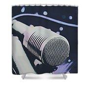 Pop Art Performance In Disco Blues Shower Curtain