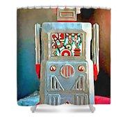 Pop Art Robot R-1 Shower Curtain