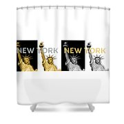 Pop Art Statue Of Liberty - New York New York - Panoramic Golden Silver Shower Curtain