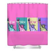 Pop Art Statue Of Liberty - New York New York - Panoramic Shower Curtain