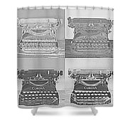 Pop Art Typewriter Collage Black And White Shower Curtain