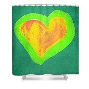 Pop Heart - Green Shower Curtain