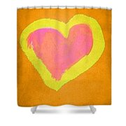 Pop Heart - Orange Shower Curtain
