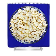 Popcorn In Glass Bowl On Blue Background Shower Curtain