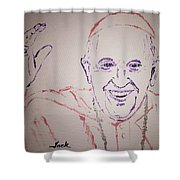 Pope Francis Waves Shower Curtain