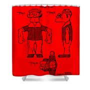 Popeye Doll Patent 1932 In Red Shower Curtain