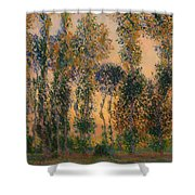 Poplars At Giverny - Sunrise Shower Curtain