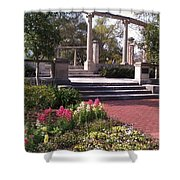 Popp Fountain Brickway Path Shower Curtain