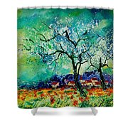 Poppies And Appletrees In Blossom Shower Curtain