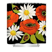 Poppies And Camomiles, Oil Painting Shower Curtain