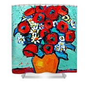 Poppies And Daisies Bouquet Shower Curtain