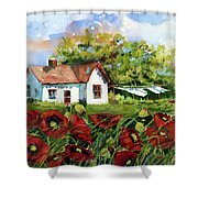 Poppies And Laundry Shower Curtain