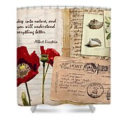Poppies And Postcards Shower Curtain