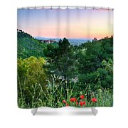 Poppies And The Alhambra Palace Shower Curtain
