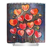 Poppies Are Hearts Of Love We Can Give Away Shower Curtain