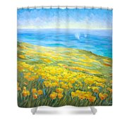 Poppies Greeting Whales Shower Curtain