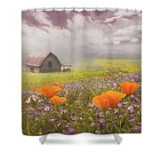 Poppies In A Dream Watercolor Painting Shower Curtain