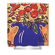 Poppies In Blue Vase 2001 Shower Curtain