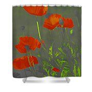 Poppies In Neon Shower Curtain