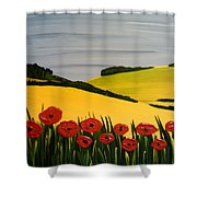 Poppies In The Hills Shower Curtain