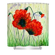 Poppies In The Wild Shower Curtain