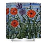 Poppies, Iris, Giant Alium Shower Curtain