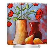 Poppies N Pears Shower Curtain