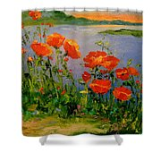 Poppies Near The River Shower Curtain