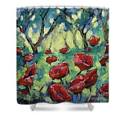 Poppies Through The Forest Shower Curtain