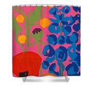 Poppy And Delphinium Shower Curtain