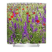 Poppy And Wild Flowers Meadow Nature Scene Shower Curtain