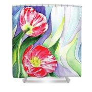 Poppy Couple Gentle Wind Shower Curtain