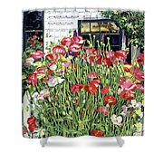 Poppy Fence Shower Curtain