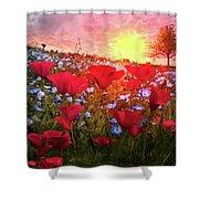 Poppy Fields At Dawn Shower Curtain