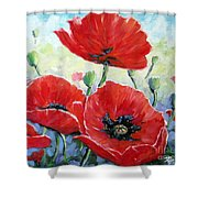 Poppy Love Floral Scene Shower Curtain