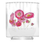 Poppy Painting On White Background Shower Curtain