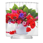 Poppy With Sweet Pea And Corn Flowers On White Shower Curtain