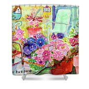 Porch Flowers Shower Curtain