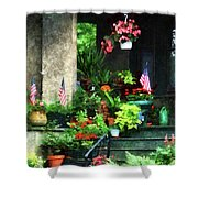 Porch With Geraniums And American Flags Shower Curtain