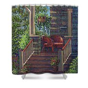 Porch With Red Wicker Chairs Shower Curtain