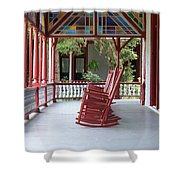 Porch With Rocking Chairs Shower Curtain