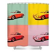 Porsche 356 Pop Art Panels Shower Curtain