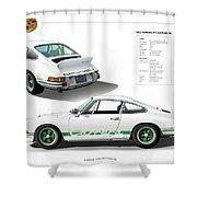 Porsche 911 Carrera Rs Illustration Shower Curtain