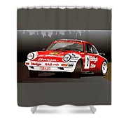Porsche 911 Rally Illustration Shower Curtain