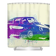 Porsche 911 Watercolor Shower Curtain by Naxart Studio