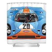 Porsche 917 Gulf On White Shower Curtain