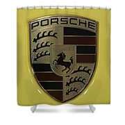 Porsche Emblem On Racing Yellow Shower Curtain